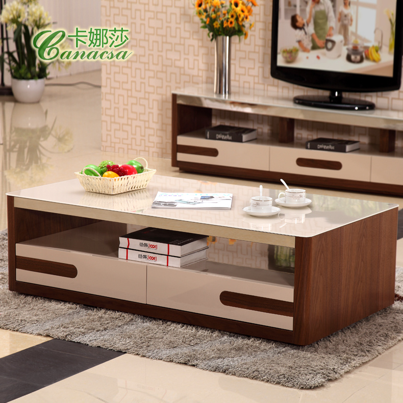Simple Wooden Coffee Table Walnut Color Product Glass Living Room TV  Cabinet Combination Packages Teasideend In Coffee Tables From Furniture On  ...