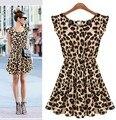 S-XXL de La Venta Caliente Nuevo 2016 Verano de Las Mujeres de Moda Casual Sexy Leopard Print Slim Fit Vestido de Una sola Pieza WL2209