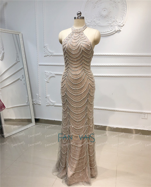 Mermaid Evening Dress Long Halter Shiny Beaded Crystal Formal Party