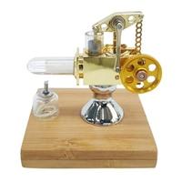 Quartz Hot Cylinder Mini Balance Type Stirling Engine Model With Solid Wood Base Early Education Gift For Children Kids Golden