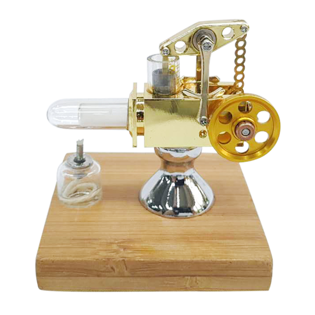 Quartz cylindre chaud Mini Balance Type moteur Stirling modèle avec Base en bois massif début éducation cadeau pour enfants enfants-doré