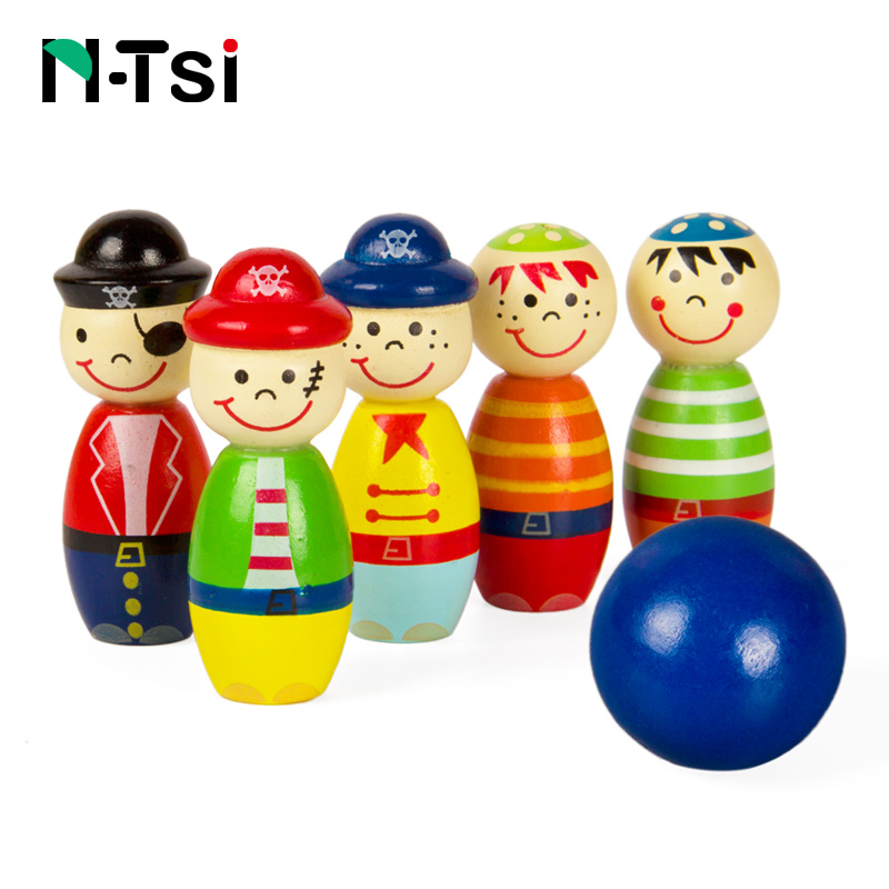6 pcs N-Tsi Pirates En Bois Chiffres Intérieur Mini Jouet De Bowling Enfants Balle Ensemble Amusant Jeu de Développement Jouets Éducatifs pour Enfants Cadeau