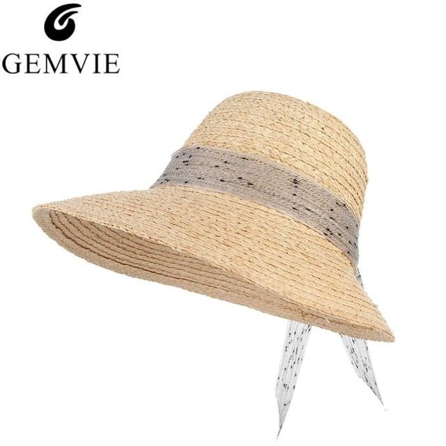 8a87c47139f 2018 New Summer Hats For Women Bowknots Ribbon Large Brim Raffia Straw Hat  Beach Visor Caps