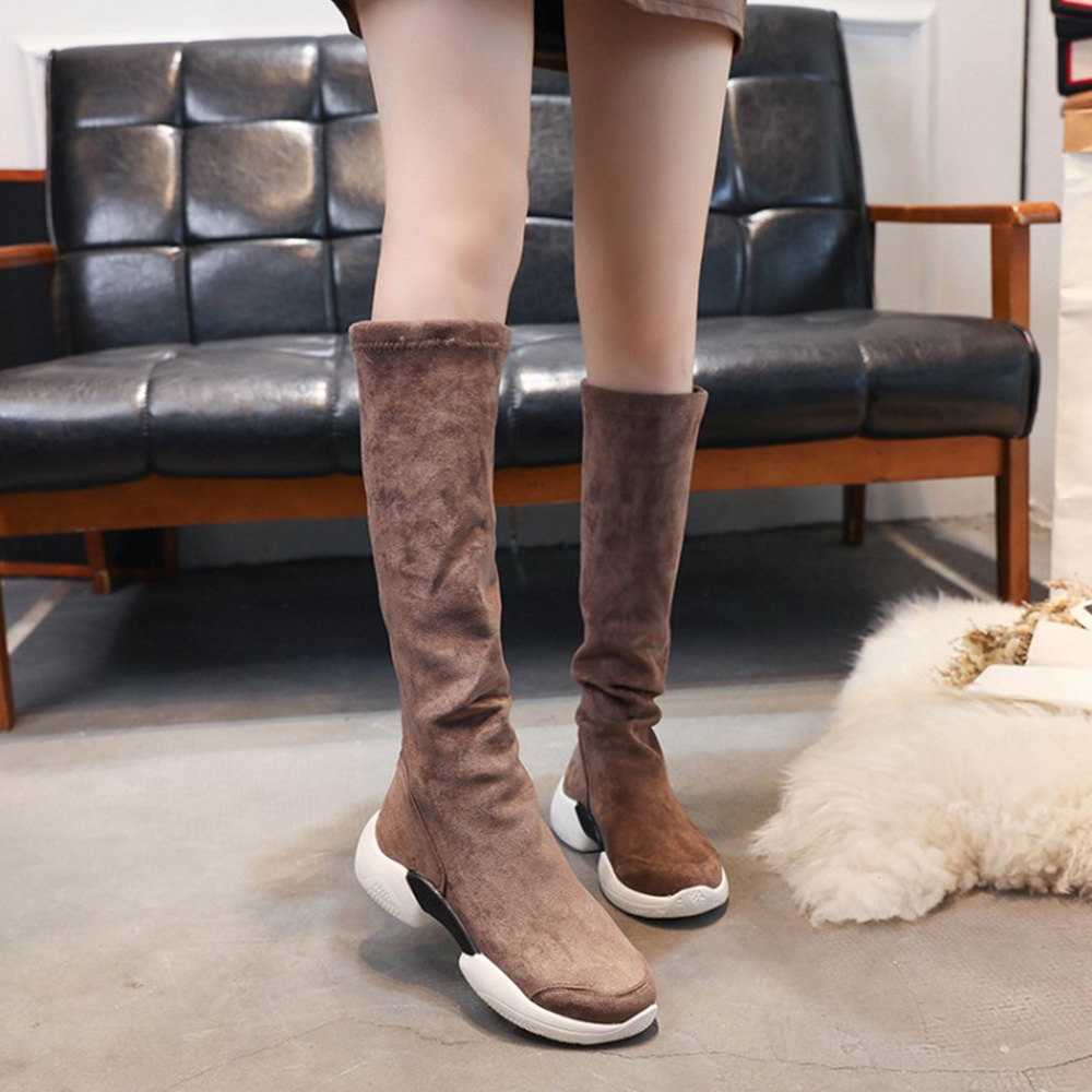 4d431bea32e2 WEIQIAONA 2019 Winter Brand Design New Flock Women Shoes High Boots Round  Toe Knee High Boots