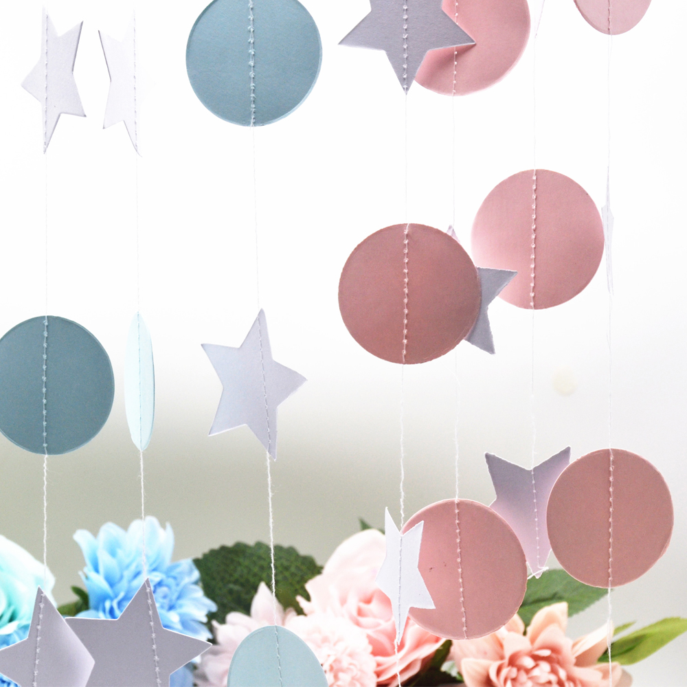 Pink White Color Sparkles Round and Star Circle Paper Garland Paper Banner Bridal Shower Gender Reveal