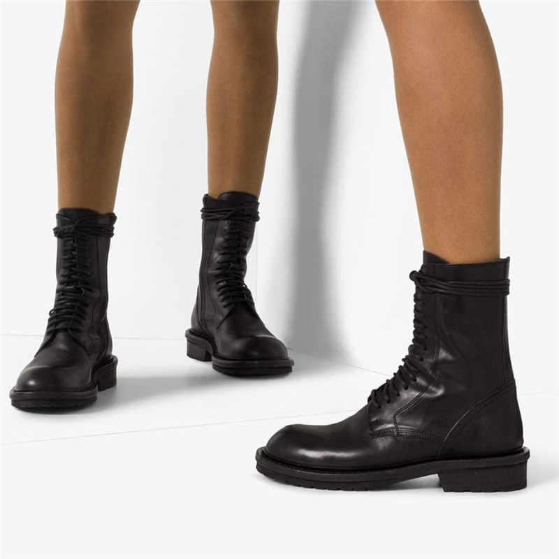 Jady gül 2020 yeni sıcak siyah yumuşak deri kadın yarım çizmeler Lace Up Casual düz ayakkabı kadın kısa patik binici çizmeleri daireler