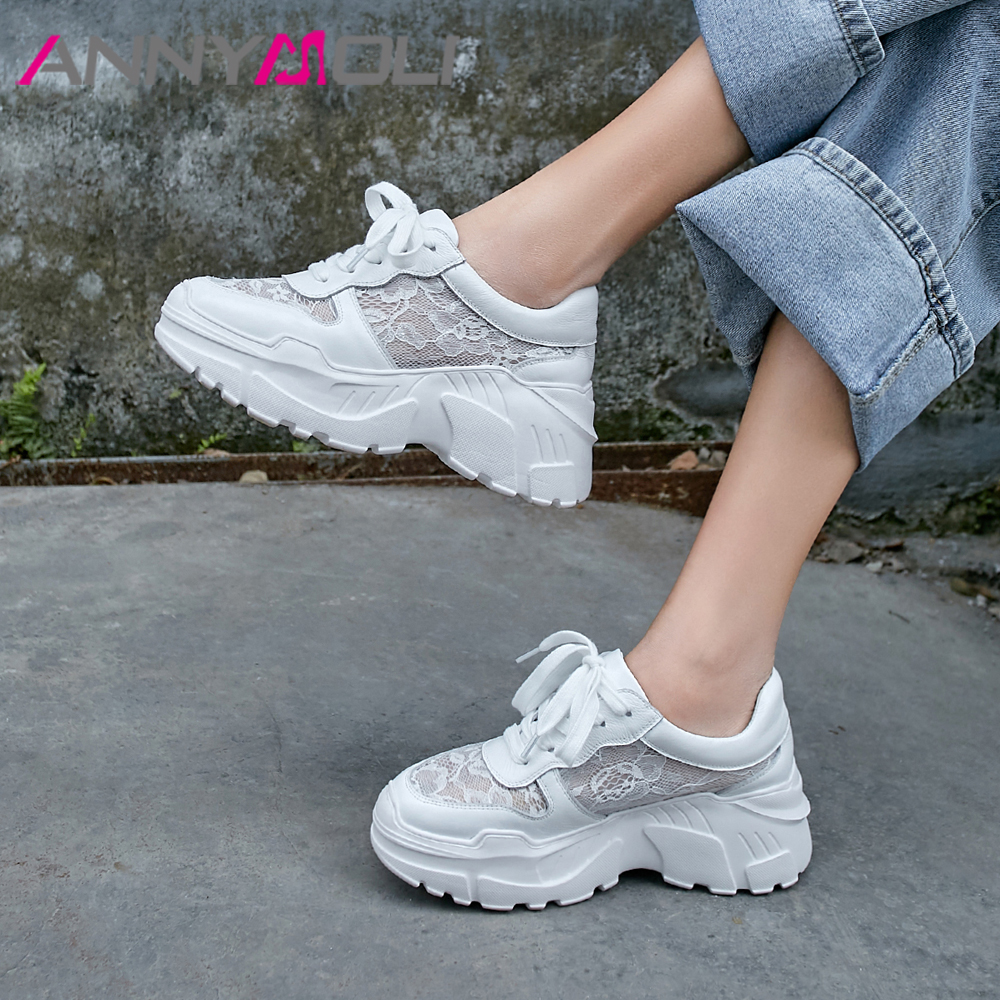 ANNYMOLI Summer Flats Sneakers Women Shoes Natural Genuine Leather Flat Platform Shoes Cutout Lace Up Shoes