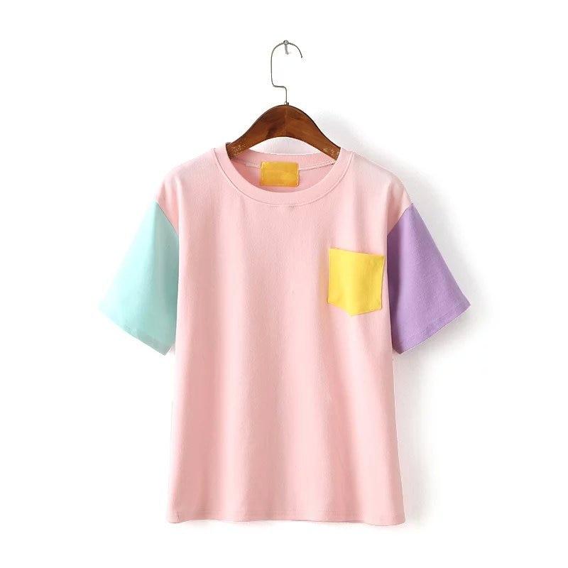 ffe1bf03b7174 Venta caliente casual estilo coreano verano mujeres Camisas nueva llegada  Tops color bloque manga corta crew Masajeadores de cuello con la camiseta  tt334