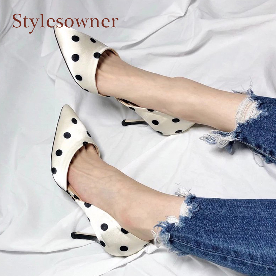 Stylesowner 2018 newest silk polka dot high heel women single shoes elegant ladies pointed toe stiletto heel dress party pumps цены онлайн