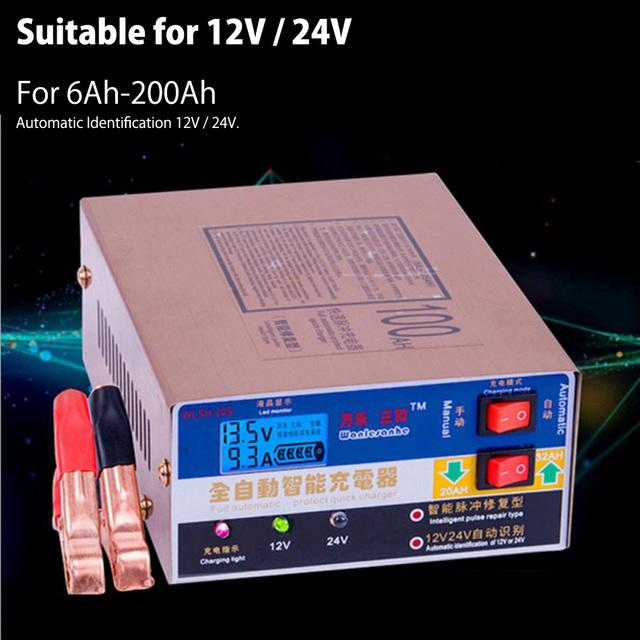 Más nuevo 110 V/220 V Cargador de Batería de Coche Eléctrico Completamente Automático Inteligente Tipo de Reparación de Pulso Cargador de Batería de 12 V/24 V 100AH