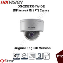 Hikvision Original English PTZ DS-2DE3304W-DE 3MP Mini PTZ IP Camera 4X Zoom IP67 PoE 2.8-12mm Day/Night Security CCTV Camera(China)