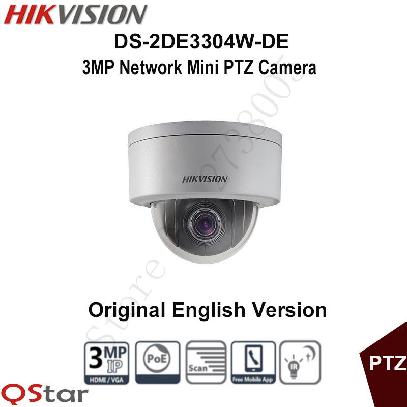 Hikvision Original English PTZ DS-2DE3304W-DE 3MP Mini PTZ IP Camera 4X Zoom IP67 PoE 2.8-12mm Day/Night Security CCTV Camera english version hikvision ptz ip camera ds 2de3304w de 3mp network mini dome camera 4x optical zoom support ezviz remote view
