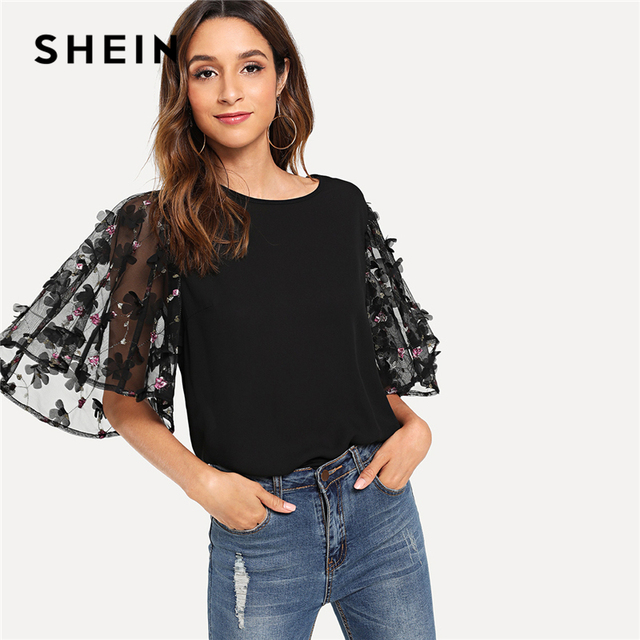 4d740c370c5b0 US $26.67 |SHEIN Flower Applique Mesh Sleeve Top Black Round Neck Half  Sleeve Blouse Women Summer Flounce Sleeve Embroidery Pullovers Tops-in  Blouses ...