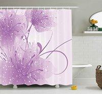 Memoria Casa Flor Púrpura con la Mariposa Violeta y Blanco Ducha Cortina de Tela Decoración de Baño con Ganchos