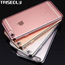 Чехол для iPhone X 8 плюс роскошный позолоченное покрытие прозрачный чехол из материала TPU чехол для iPhone 6 6 S 7 Plus