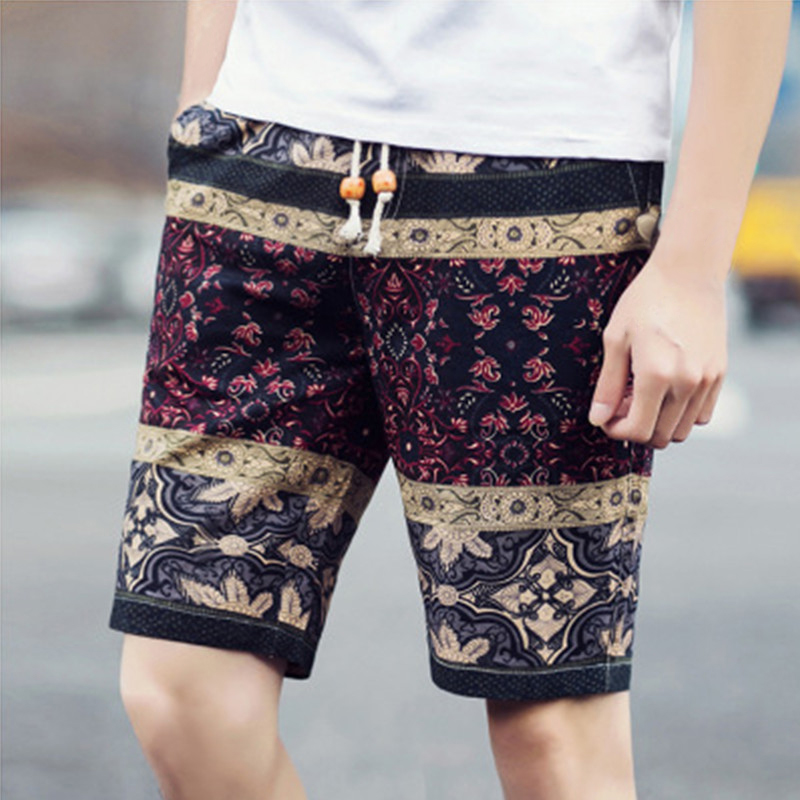 2018 Summer Mens Beach Shorts Personality Printing Thin Section Breathable Casual Mens Linen Shorts Board Shorts Men Plus Size