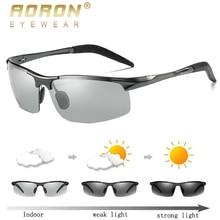 AORON, мужские фотохромные поляризованные солнцезащитные очки, алюминиевая оправа, солнцезащитные очки, мужские очки, антибликовые очки для вождения