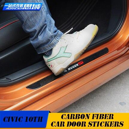 Modification de voiture 4 pcs en fiber de carbone intérieur voiture automobile porte pédale protection autocollants pour 10e honda civic accessoires