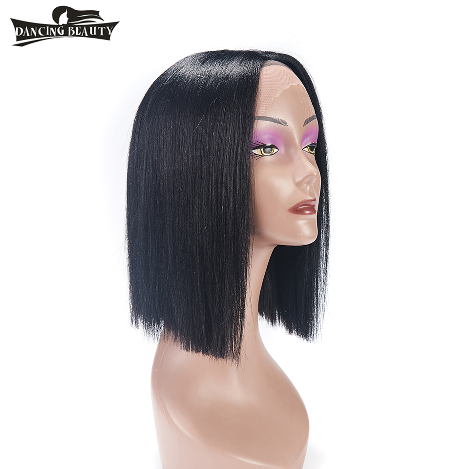 DANCING BEAUTY Pre-Colored 130% Density Lace Front Human Hair Wigs For Black Women Brazilian Straight Non Remy Hair 12 Inches