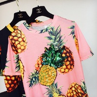 New 2017 Women Summer T Shirt Pineapple Print Fashion T Shirts Shiny Sequined Tops Female Short