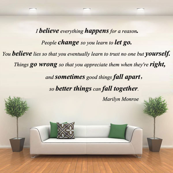 Marilyn Monroe Quote Wall Sticker I Believe Everything Happens