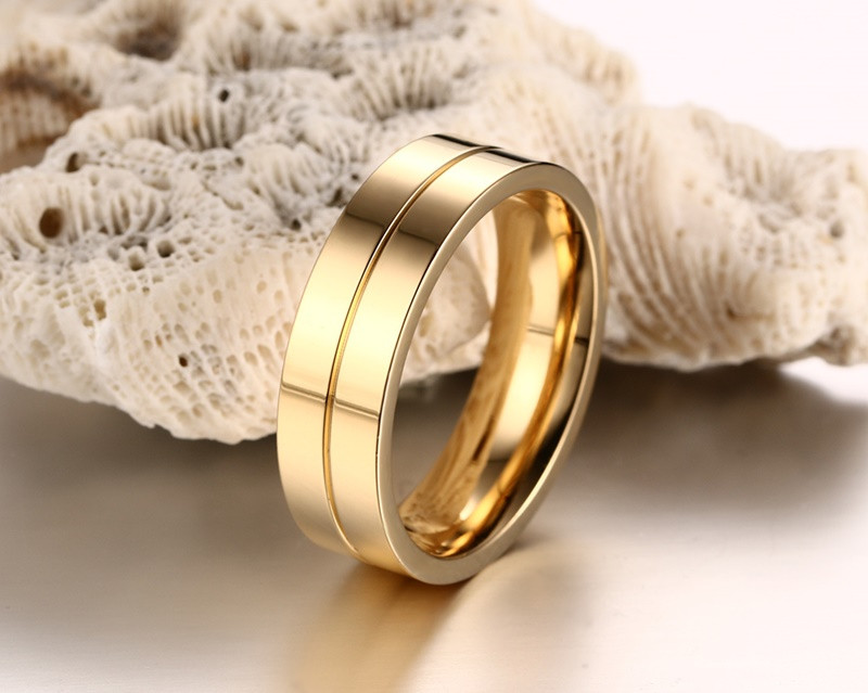 29691b1051 Meaeguet Gold-Color CZ Wedding Rings Lover's Cubic Zirconia Stainless Steel  Romantic Ring Jewelry USA Size