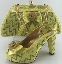 Italian matching shoe and bag set for wedding party African ladies high heels pumps ME3330 Yellow