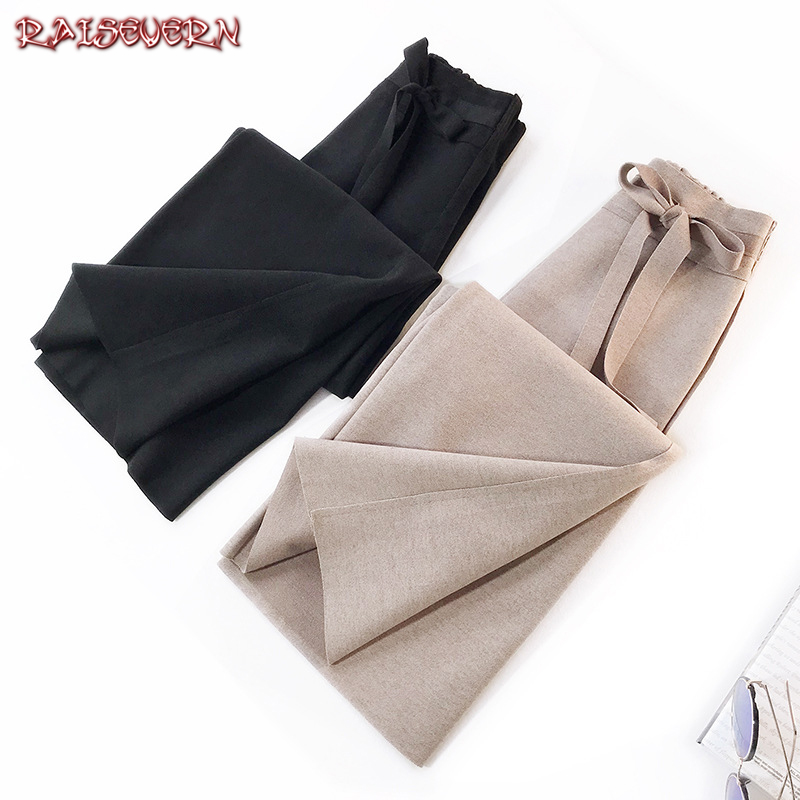 RAISEVERN Women Black Beige Casual   Wide     Leg     Pants   High Waist Bow Tie Front Trousers OL Elegant   Pants   Long Culottes   Pants   2019