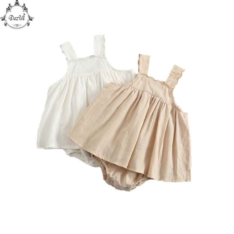 Little Girls Clothes 2pcs Swing Top Bloomer Set Cotton Soft Summer Kids Clothing Set Plain Newborn Bath Suit Baby Girls Clothing