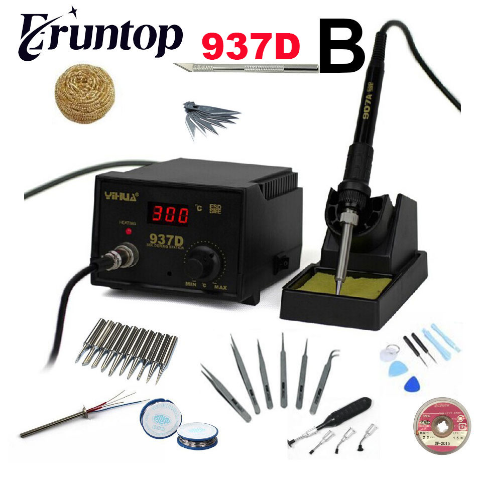 220V 45W Temperature Control ESD Digital Soldering Station / Rework Stations YIHUA 937D
