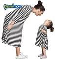 Mamimore Vestido A Rayas Vestido A Juego de la Familia de Madre E Hija Ropa de Algodón Camisas de Moda Dresse Para Mamá Niñas Ropa de La Familia