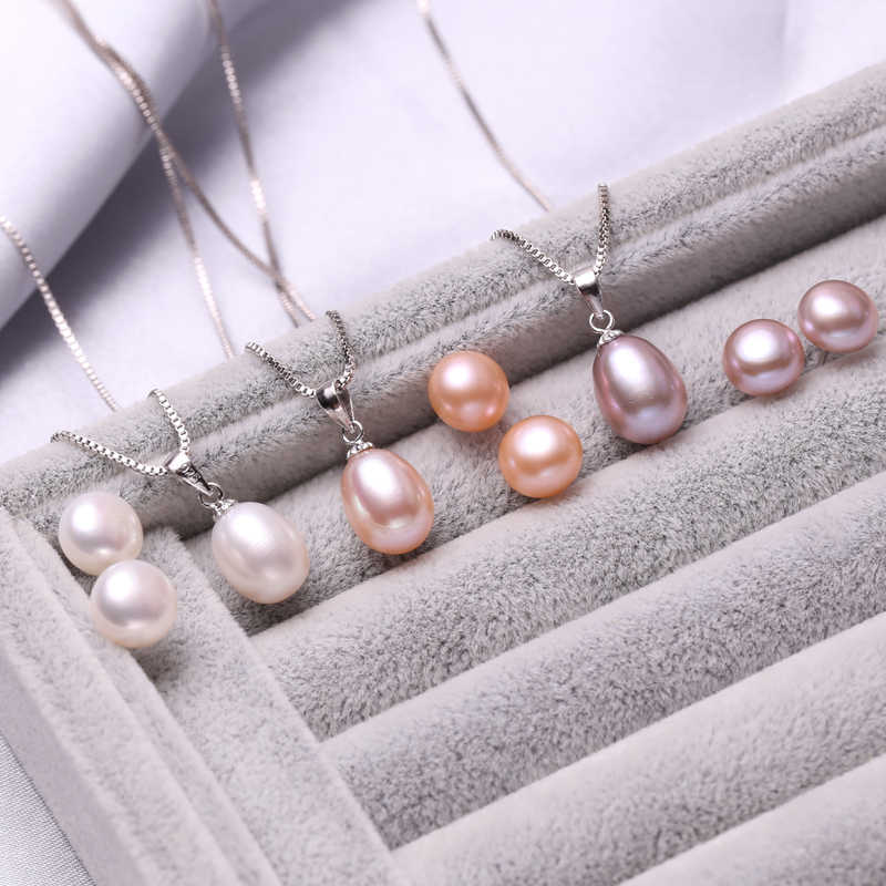 FENASY Pearl Jewelry sets wedding engagement event Natural Pearl pendant Necklace 925 sterling silver stud earrings for women