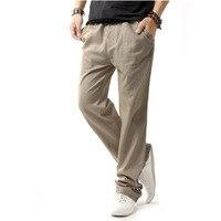 Brand Men Pants 2015 Fashion Design Beige Gray Linen Mens Loose Trouser Pants Casual Brand Stylish