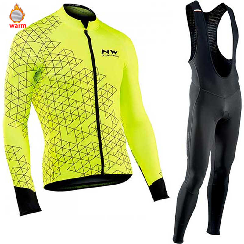 7da0c1c47 Northwave Warm 2019 Winter Thermal Fleece Cycling Clothes NW Men s Jersey  Suit Outdoor Riding Bike MTB