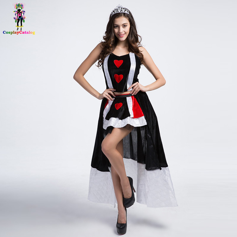 Queen Of Red Hearts Halloween Costume Deluxe Adult Sexy Party Fancy Dresses Women Halloween Poker Costumes with Crown