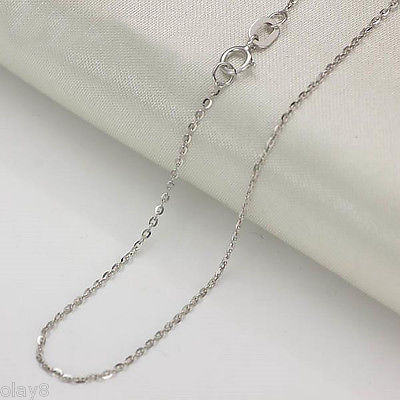 Real 18K White Gold Necklace Womens O Shaped Chain Au750 1.5-2g - 18Real 18K White Gold Necklace Womens O Shaped Chain Au750 1.5-2g - 18