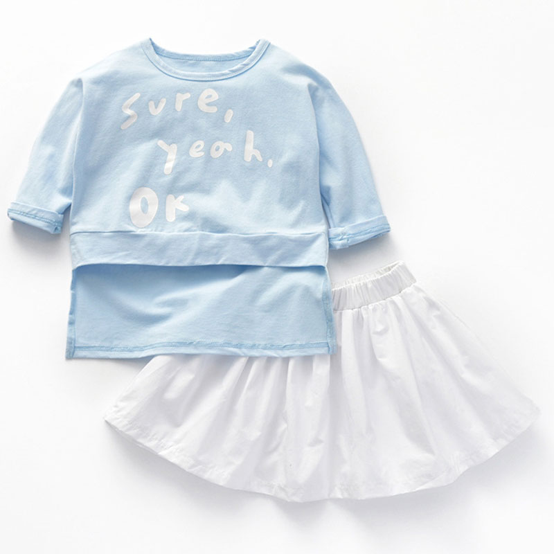 18M-6T Girls Clothing Set Letter Print Tops Solid Pleated Skirt Clothes for Girls Two Pieces Children Clothing Kids Clothes Set