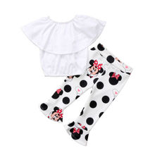купить New 2018 Cute Toddler Kids Girls Off Shoulder Solid Ruffle Tops Minnie Mouse Print Pants Clothes Outfit Set 2019 по цене 693.65 рублей