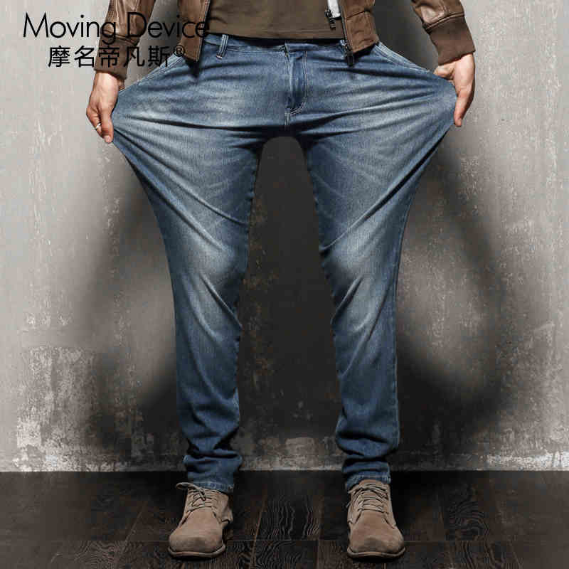 ФОТО 2016 spring elastic jeans male loose big yards cultivate one's morality leisure straight young fashionable pants fat fertilizer