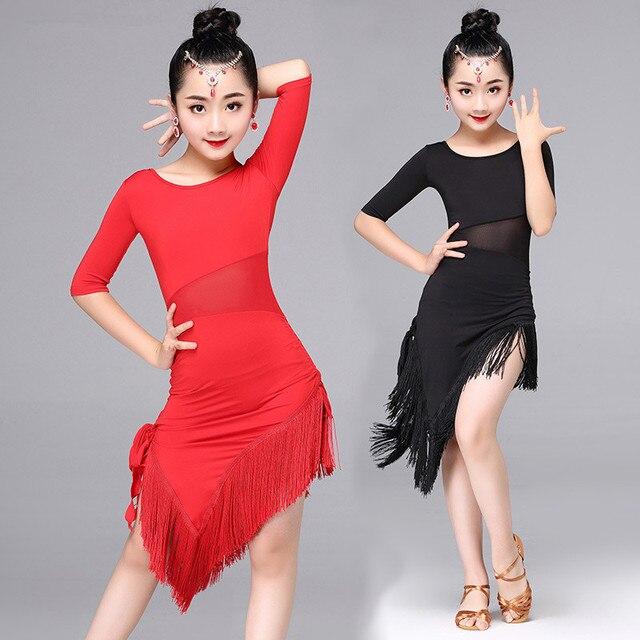 dac163117 Girls Dance Wear Tassel Latin Dance Dress for Children Modern Ballroom  Costume Sexy Salsa Tango Cha Cha Performance Stage Wear