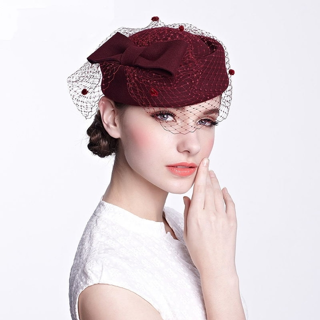 e41e663b4044a 2016 New Arrival Women Party Elegant Hats Ladies British Style Vintage Mesh  Wool Fedoras Party Prom Formal Caps Hat H035