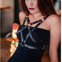 2017 New Top Cage Tied Wire Bra Hanger Garter Gothic Jaretelles Sling Ladies Underwear Bralette Leather