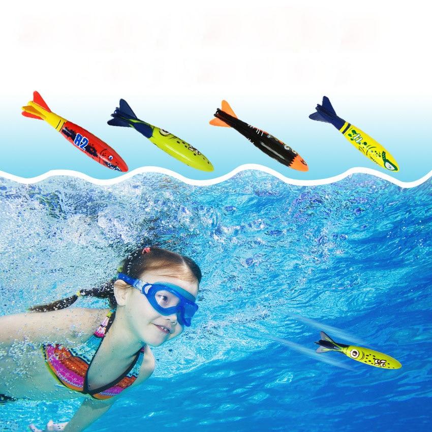 4 Pcs/Set Torpedo Rocket Throwing Toy Summer Torpedoes Bandits Children Underwater Dive Sticks Toy Fun Swimming Diving Game Toy