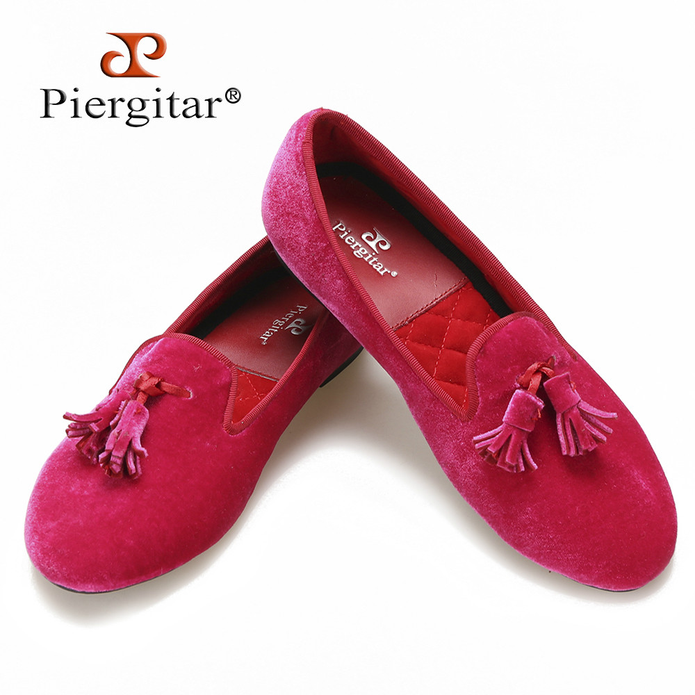 New fashion pink color women velvet shoes with  tassel ,Piergitar women dress and Party  loafers handmade flats  size us5-us11 inc new polished coral pink women s size large l keyhole tassel blouse $39 010