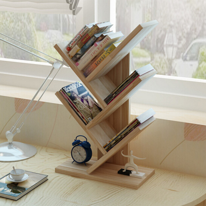 Us 53 91 10 Off Creative Bookshelf Simple Office Tree Shelf Study Bedroom Desk Small Bookcase Magazine Rack In Bookcases From Furniture On