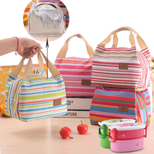 Cute Fashion Insulated Thermal Cooler Striped Lunch Bag Travel Bag Picnic Carry Tote Case