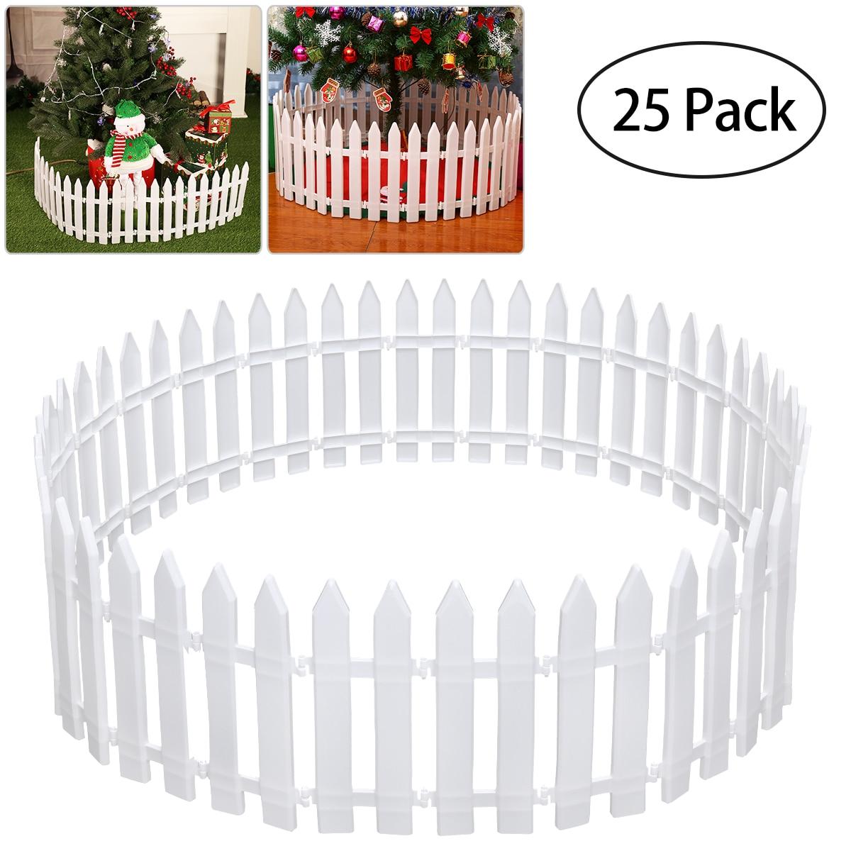 25 Pcs White Plastic Fence Miniature Home Garden Christmas Xmas Tree Wedding Party Decoration