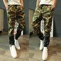 2016 Nuevos Hombres de Moda Casual Pantalones de Camuflaje Militar Joggers Pantalones Patchwork de Cuero Ocasional Del Ejército 13M0553