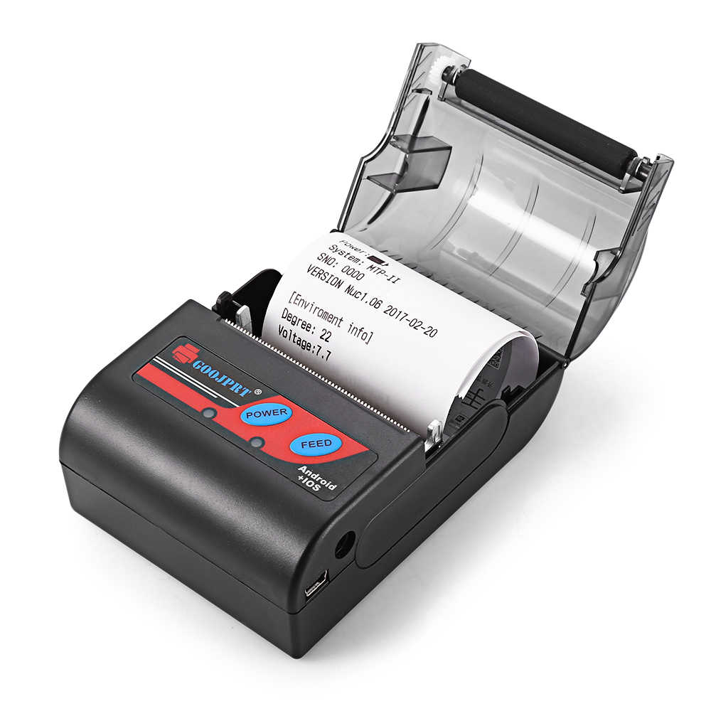 MTP-II 58 GOOJPRT MM Recibo Impressora Térmica Do Bluetooth Portátil Sem Fio Recarregável Máquina para Windows Android iOS 80 mm/s