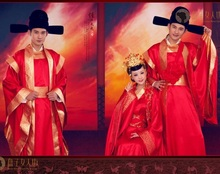 Ancient China Lover's Cosume for Couple Hanfu  chinese style wedding formal dress clothes red vintage long-sleeve tang suit